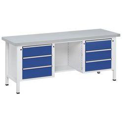 Anke werkbänke - anton kessel Stół warsztatowy, stabilny, 6 szuflad, ½ blatu, okładzina z blachy stalowej
