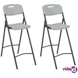 vidaXL Składane krzesła barowe, 2 szt., HDPE i stal, białe (8718475623656)