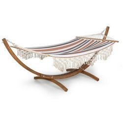 bali swing, hamak, modrzew, 160 kg maks., 320 g/m², 3-kolorowy, wzór w paski marki Blumfeldt