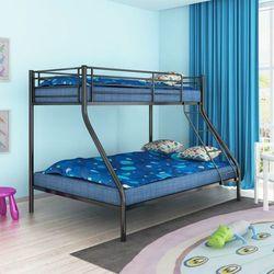 Łóżko piętrowe dla dzieci z czarną metalową ramą 200x140/200x90 marki Vidaxl