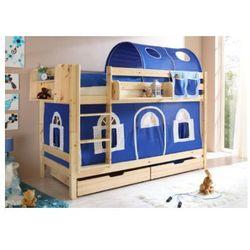 Ticaa łóźko piętrowe marcel sosna natur domek- niebieski/biały - bez tunelu marki Ticaa kindermöbel