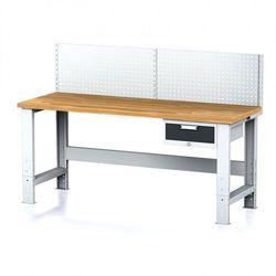 B2b partner Stół warsztatowy mechanic z nadstawką, 2000x700x700-1055 mm, nogi regulowane, 1x 1 szufladowy kontener, szary/antracyt