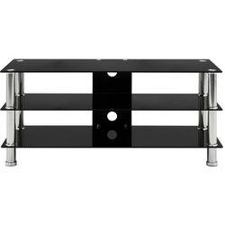 Vidaxl szafka pod tv, czarna, 90x40x40 cm, hartowane szkło