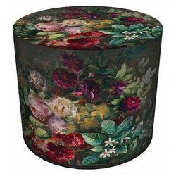 Zielono-czerwona tapicerowana pufa z motywem florystycznym - matilda marki Producent: elior