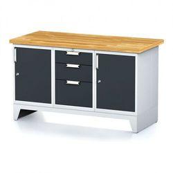 Stół warsztatowy MECHANIC, 1500x700x880 mm, 1x 3 szufladowy kontener, 2x szafka, szara/antracyt