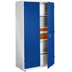 Ekstra pojemna biała szafa biurowa z niebieskimi drzwiami 635x1020x1900mm - produkt z kategorii- Szafy i witr