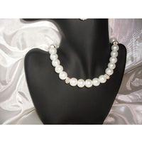 N-00007 Naszyjnik z perełek szklanych, białych