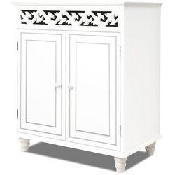 Wideshop Biała stylowa drewniana duża komoda kredens szafka