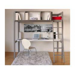 Łóżko antresola GIACOMO - 90 × 190 cm - z biurkiem i półkami - Drewno świerkowe szary