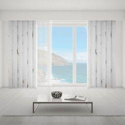 Zasłona okienna na wymiar - WHITE HORIZONTAL WOODEN BOARDS