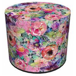 Okrągła tapicerowana wielobarwna pufa w kwiaty - matilda marki Producent: elior