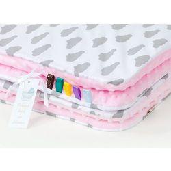 Mamo-tato komplet kocyk minky 75x100 + poduszka chmurki szare na bieli / jasny róż