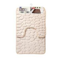 Galicja rocky dywanik łazienkowy 2 elementy 50 x 50 cm 50 x 80 cm memory foam pianka pamięć kształtu krem 6242