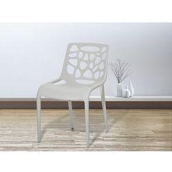 Krzesło ogrodowe - plastikowe jasnoszare - krzesło z tworzywa sztucznego - MORGAN (7081454723496)