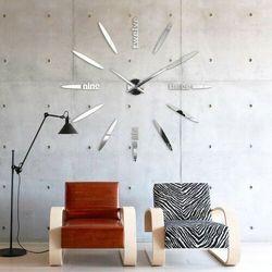 Zegar ścienny duży OWALNY srebrny