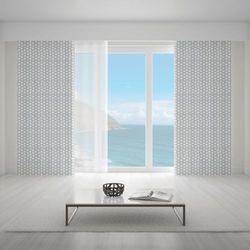 Zasłona okienna na wymiar - WHITE DOTS & GREY BACKGROUND