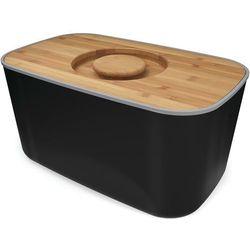 Stalowy chlebak z bambusową deską do krojenia Joseph Joseph czarny - produkt z kategorii- Chlebaki