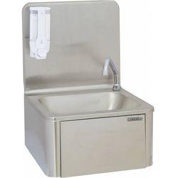 Umywalka z instalacją kolankową i dozownik do mydła