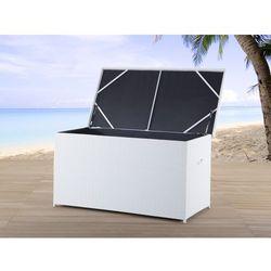 Skrzynia na poduchy biała - rattan - meble ogrodowe - 160 cm - MODENA - produkt z kategorii- Pozostałe meble ogrodowe