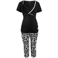 Piżama do karmienia ze spodniami 3/4 bonprix czarny z nadrukiem, kolor wielokolorowy