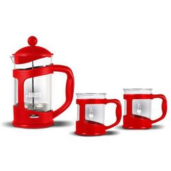 Zestaw coffee press + 2 kubki czerwony marki Bialetti