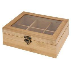 Bambusowy pojemnik na herbatę 6 przegród, kolor brązowy