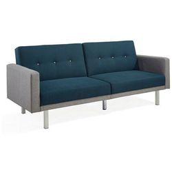 3-osobowa rozkładana kanapa z tkaniny CALDER - Niebieska kanapa z jasnoszarymi bokami, kolor niebieski