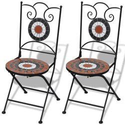 vidaXL Mozaikowe krzesło bistro Terracotta - biały zestaw 2 szt, kup u jednego z partnerów
