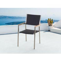 Meble ogrodowe czarne - krzesło ogrodowe - rattanowe - balkonowe - tarasowe - GROSSETO ze sklepu Beliani
