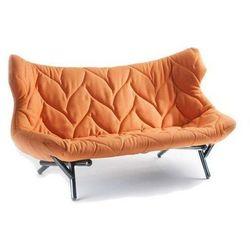 Sofa Foliage czarna rama pomarańczowa wełna, kolor czarny