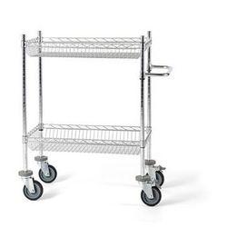 Unbekannt Wózek stołowy z kratą drucianą, z koszami, dł. x szer. x wys. 760x460x1025 mm, 2