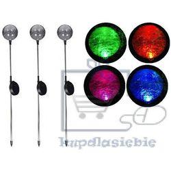 Lampa ogrodowa solarna LED w kształcie kuli (zmienia kolory) komplet 3 szt.