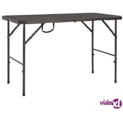 składany stół ogrodowy, hdpe, brązowy, stylizowany na rattan marki Vidaxl