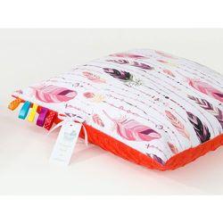 poduszka minky dwustronna 40x60 piórka burgund / czerwona pomarańcza marki Mamo-tato
