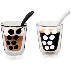 Zestaw 2 szklanek 200 ml z podwójnymi ściankami i łyżeczkami dot zak! designs marki Zakdesigns