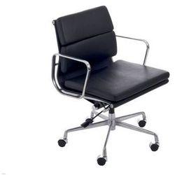 Fotel biurowy CH inspirowany EA217 skóra, chrom - czarny (5902385712774)