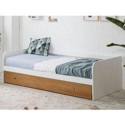 Wysuwane łóżko JULIETTE – 2 × 90 × 190 cm – MDF – kolor biały i czereśnia