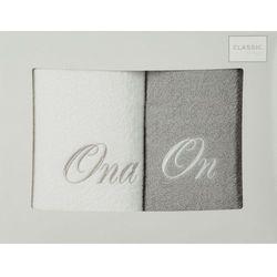 Komplet ręczników 2 szt. Eurofirany On-Ona biały/srebrny, E08-2/01