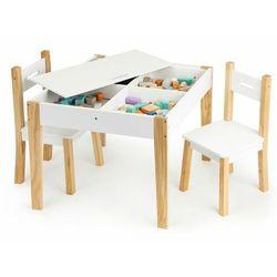 Ecotoys Zestaw mebli dla dzieci, drewniane, stolik, 2 krzesła