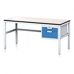 Stół warsztatowy MECHANIC II, 1600 x 700 x 745-985 mm, 2 kontener szufladowy, szary/niebieski