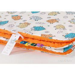 Mamo-tato kocyk minky dla dzieci 100x135 szalone owieczki kremowe / pomarańczowe