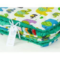 Mamo-tato komplet kocyk minky do wózka + poduszka słoniaki zielone / ciemna zieleń