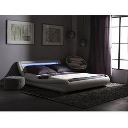 Łóżko białe LED 180 x 200 cm skóra ekologiczna AVIGNON (4260586352160)