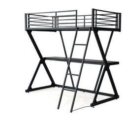 Vente-unique Łóżko z antresolą joachim z miejscem do spania o powierzchni 90 × 190 cm- z wbudowanym biurkiem — czarne matowe