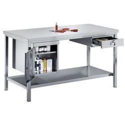 Stół warsztatowy ze stali szlachetnej, 1 szafka dolna, 1 szuflada, 1 pełna półka marki Kek