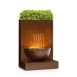 Blumfeldt Windflower, fontanna ogrodowa z misą na rośliny, 11W, ocynkowany metal, brązowa