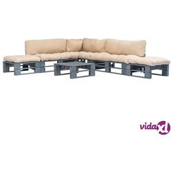 Vidaxl 6-cz. zestaw ogrodowy, piaskowe poduszki, palety z drewna fsc (8718475728009)
