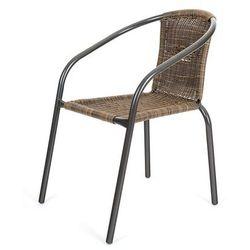 Happy Green krzesło stalowe PE RATAN - brązowe
