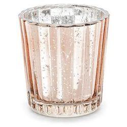Party deco Świeczniki szklane - różowe złoto - 6 cm - 4 szt.