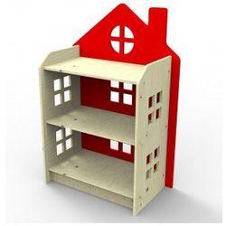 Planeco Drewniany regał domek czerwony